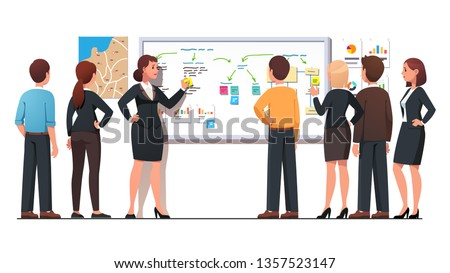 Boss woman explaining business regional marketing strategy to employees group using diagrams, notes on whiteboard. Staff planner meeting. Leader planning strategy. Flat vector character illustration
