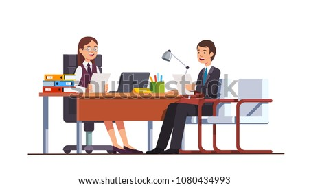 Boss woman holding CV or HR manager meeting job applicant man in director office. Employment candidate having job position evaluation interview. Business interior design flat vector illustration