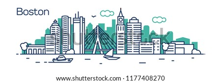 Boston city.For banner, web page, cards, presentation. Vector illustration