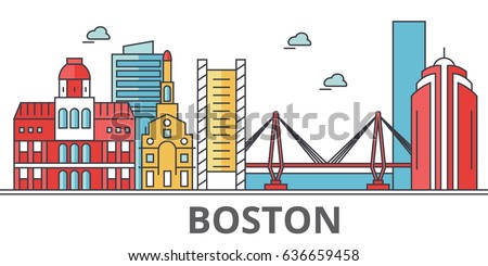 Boston city skyline. Buildings, streets, silhouette, architecture, landscape, panorama, landmarks. Editable strokes. Flat design line vector illustration concept. Isolated icons on white background