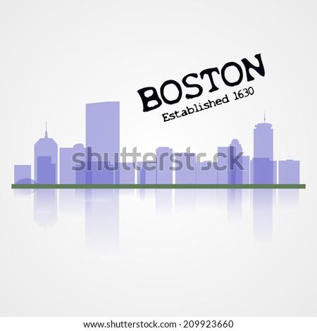 boston city skyline illustration