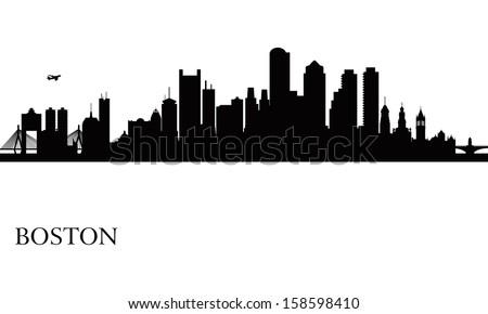 Boston city skyline silhouette background. Vector illustration