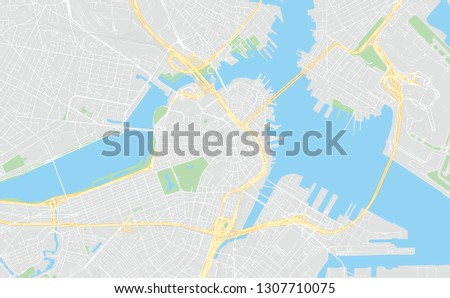Boston, Massachusetts, classic colors, printable map, designed as a high quality background for high contrast icons and information in the foreground.
