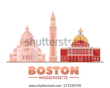 Boston Massachusetts (USA) landmarks. Isolated objects famous city buildings. Vector illustration.
