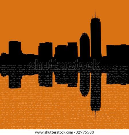 Boston skyline at sunset illustration