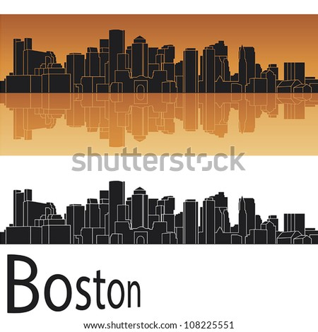 Boston skyline in orange background in editable vector file