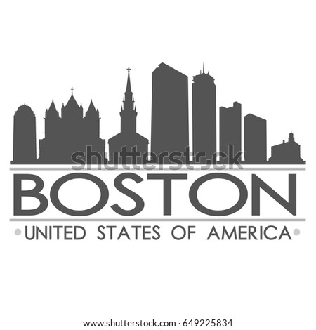 Boston Skyline Silhouette Design City Vector Art