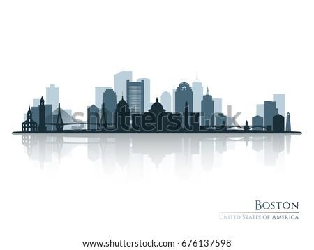 boston  skyline silhouette with