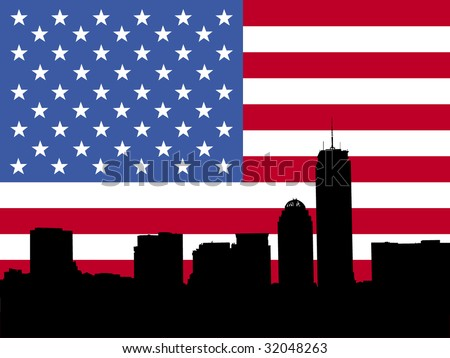 Boston skyline with American flag illustration