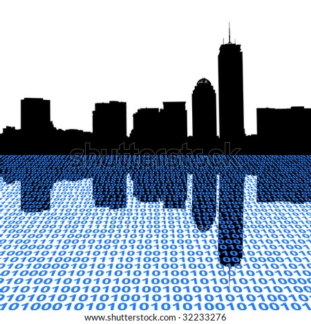 Boston skyline with binary foreground illustration