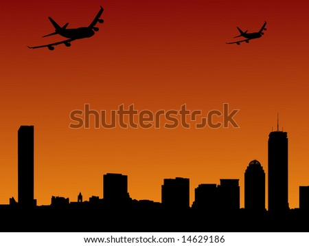 Boston skylines and two planes arriving illustration