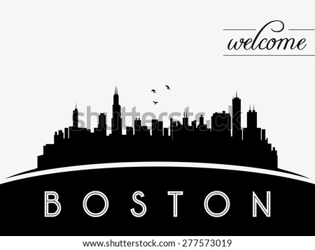 Boston USA skyline silhouette, black and white design, vector illustration