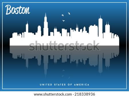boston  usa skyline silhouette