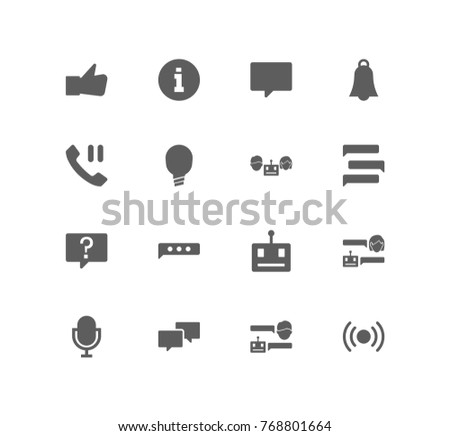 Bot communication icon set with online, conversation and texting. Set of automatic answer related bot icon vector elements for web mobile logo UI design. Vector set of bot chat icons.