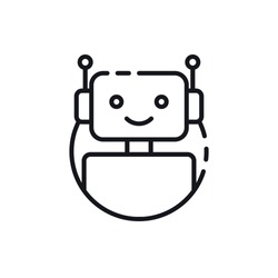 Bot icon. Chatbot icon concept. Cute smiling robot. Vector modern line character illustration isolated on white background. Outline robot sign design. Voice support service bot. Virtual online support