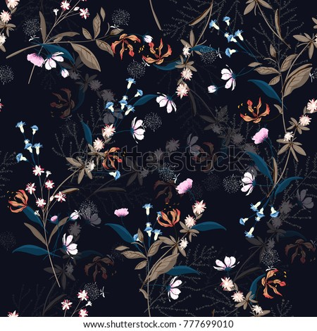 Botanic Floral pattern in the many kind of flowers. Flowers Motifs scattered random. Seamless vector texture. for fashion prints. Printing with in hand drawn style on navy blue background.