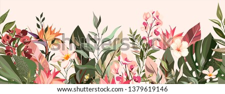 botanic seamless border, rim with exotic flowers and leaves, hand drawn background. floral pattern. fashion arrangements with tropical leaf