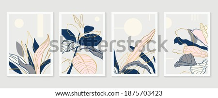 Botanical and gold abstract wall arts vector collection.  Golden and luxury pattern design with leaves line arts, Hand draw Organic shape design for wall framed prints, canvas prints, poster, home dec