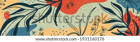 Botanical banner with organic shapes, leaves, branch and plants. Abstract natural elements in trendy doodle style for holiday, business. Simple, minimal design. Modern trendy vector background