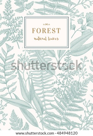 Botanical card in vintage style. Seamless floral pattern with leaves. Vector.