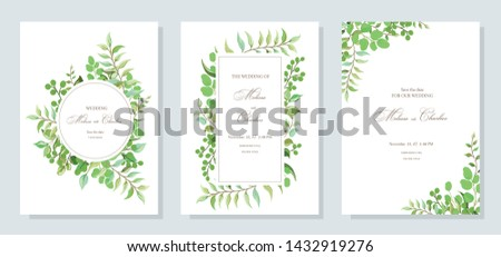 Botanical card with wild leaves. Set of wedding invitations; flowers, leaves floral and herbal garlands with green foliage eucalyptus exotic tropical plants. Vector graphics. #1432919276