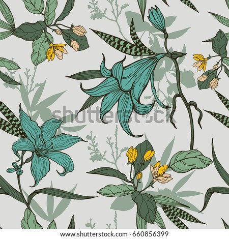 botanical flowers with leaves
