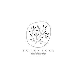 Botanical hand drawn  minimal logo. Graphic tree branch in vector.