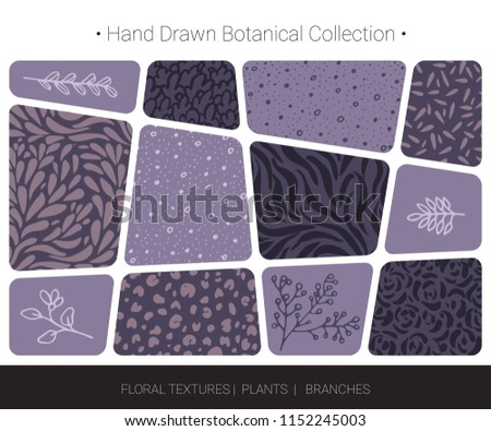 Botanical hand drawn vector  silhouettes of flowers, weeds, herbs, tree branches, abstract herbal textures. Logo design, organic branding, wedding invitation decor, fashion textile and floral prints.