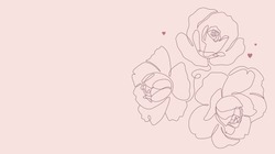 Botanical illustration with line art. Rose and peony flowers single line drawing. One line minimalist style sketch with hearts for print, banner, card or invitation. - Vector