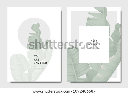 Botanical invitation card template design, green banana leaves on grey and white background, minimalist vintage style