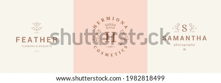 Botanical logos emblems design templates set with blossom flowers vector illustrations minimal linear style. Outline symbols for cosmetics and packaging or floral products branding