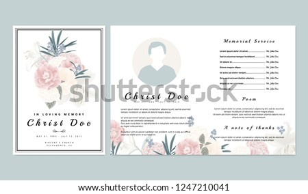 Botanical memorial and funeral invitation card template design, pink and white roses, lilies with leaves on white background