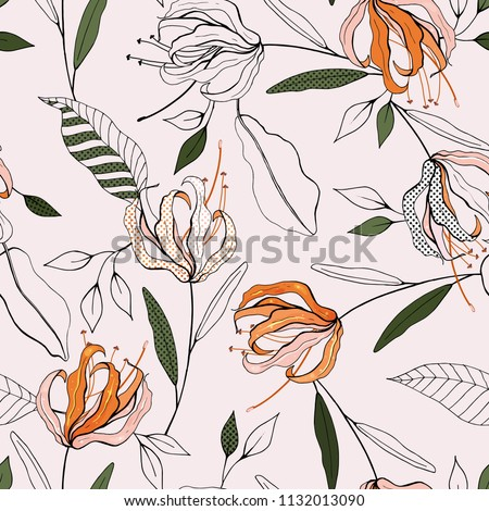 Botanical motifs. Isolated seamless flower pattern. Vintage background. Wallpaper.  Hand drawn. Vector illustration. #1132013090