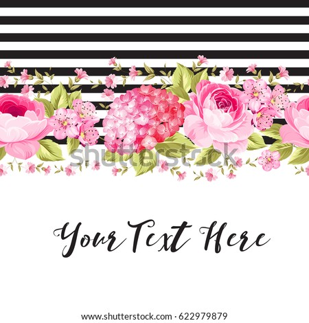 Botanical pink rose flowers with black tile lines and text place are isolated on white background. Elegant Vintage invitation card design. Vector illustration.