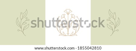 Botanical plant twigs and tender flower in boho linear style vector illustrations set. Bohemian emblems in lines with flowers and leaves symbol for gardering logo and cosmetics packaging Photo stock ©