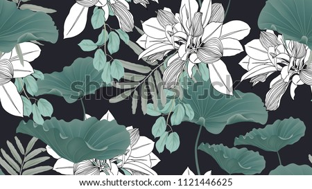 Botanical seamless pattern, green leaves and lotus leaves on dark blue background