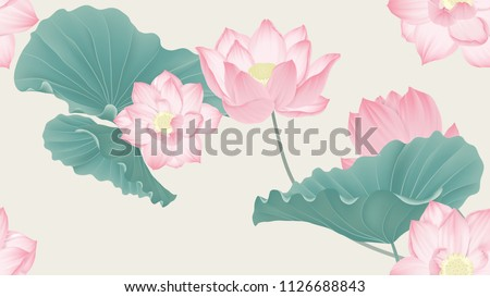 Botanical seamless pattern, pink lotus flowers and leaves on light brown background, pastel vintage theme