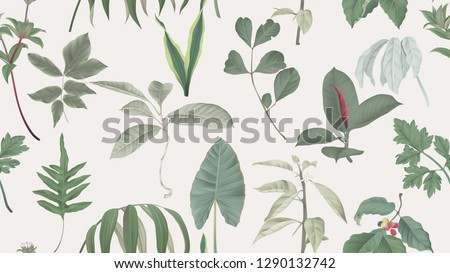 Botanical seamless pattern, various green leaves on light brown, pastel vintage theme