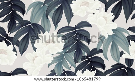 Botanical seamless pattern, white paenia lactiflora flowers and leaves on light brown background
