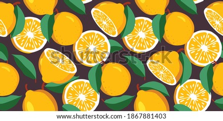 botanical seamless pattern with lemons whole cut into pieces branches leaves