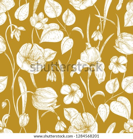 botanical seamless pattern with