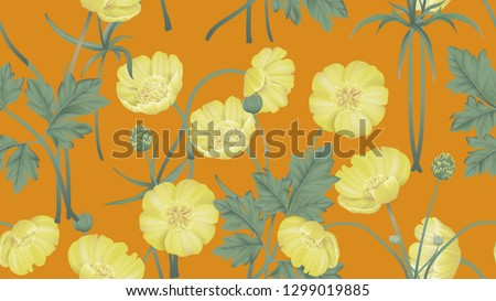4d776ff19cd9e Botanical seamless pattern, yellow creeping buttercup flowers with leaves  on orange, pastel vintage theme