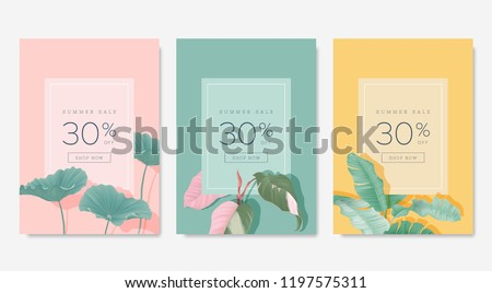 Botanical summer sale banner template design set, lotus leaves on pink, Philodendron pink princess on blue, banana leaves on yellow, pastel vintage theme