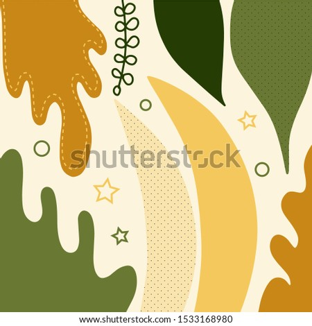 Botanical vector illustration leaves in abstract style abstract foliage background. Modern Textile design, fabric. Vintage botanical vector illustration leaves, great design for any purposes.