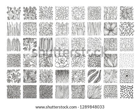 Botanical vector textures for organic branding, fashion textile and floral prints. Big collection of hand drawn floral ornament, herbal pattern, plant ornamentation isolated on black background.
