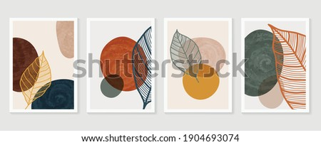 Botanical wall art vector background set. Foliage line art drawing with watercolor.  Abstract Plant Art design for wall framed prints, canvas prints, poster, home decor, cover, wallpaper.