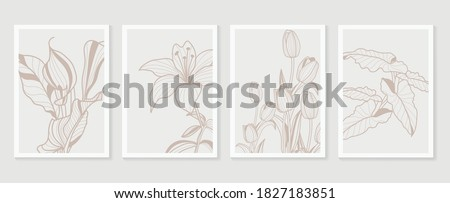 Botanical wall art vector set. Earth tone boho foliage line art drawing with  abstract shape.  Abstract Plant Art design for print, cover, wallpaper, Minimal and  natural wall art. Foto stock ©