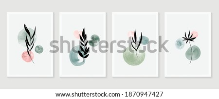 Botanical wall art vector set. Earth tone boho foliage line art drawing with  abstract shape.  Tropical Plant cover design for print, cover, wallpaper, Minimal and  natural wall art. Stock photo ©