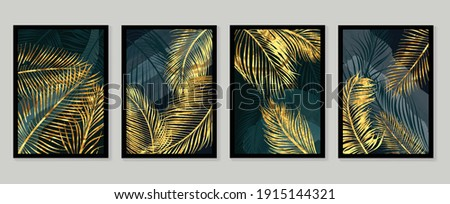 Botanical wall art vector set. Golden foliage line art drawing with  abstract shape.  Abstract Plant Art design for wall framed prints, canvas prints, poster, home decor, cover, wallpaper.