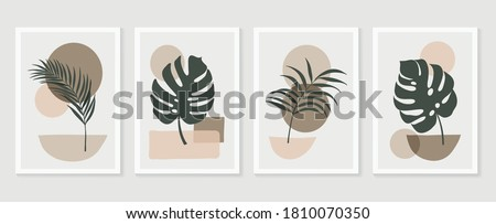 Botanical wall art vector set. Tropical Foliage line art drawing with  abstract shape.  Abstract Plant Art design for print, cover, wallpaper, Minimal and  natural wall art. Vector illustration.